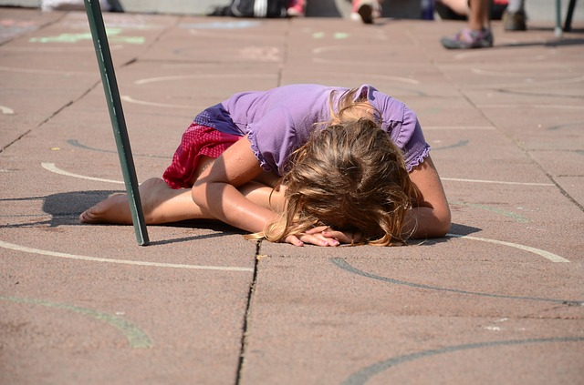 Kid crying on a play ground